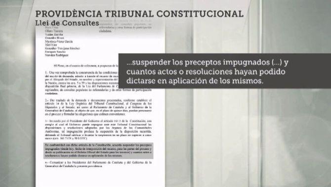 El Tribunal Constitucional suspèn en un temps rècord la llei de consultes i la convocatòria del 9-N
