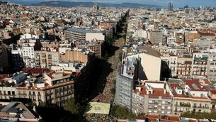 Vista aèria de Barcelona, de la manifestació de l'11S