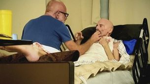 Timothy Ray Brown amb la seva parella Tim Hoeffgen a casa seva