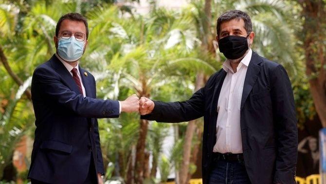 Pere Aragonès i Jordi Sànchez celebren el principi d'acord entre ERC i Junts