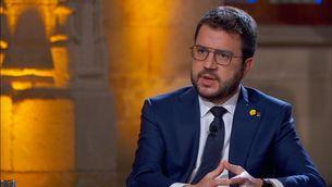 Pere Aragonès, durant l'entrevista amb TV3