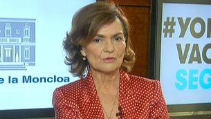 La vicepresidenta primera del govern espanyol, Carmen Calvo, durant l'entrevista a TV3