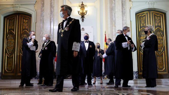 Lesmes i altres membres de la judicatura en l'acte d'aquest dilluns al Suprem