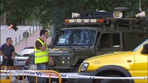 Un vehicle de la Unitat Militar d'Emergències, a la seva arribada a Girona.