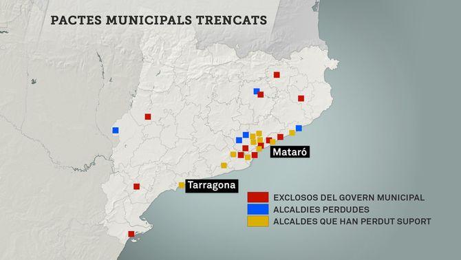 El PSC perd cinc ajuntaments i surt del govern en dotze municipis després del 155