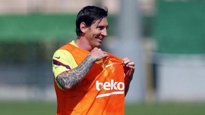 Messi s'entrena al Camp Nou però fa treball específic