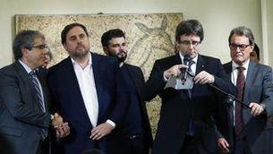 Francesc Homs, Oriol Junqueras, Carles Puigdemont i Artur Mas en una imatge d'arxiu