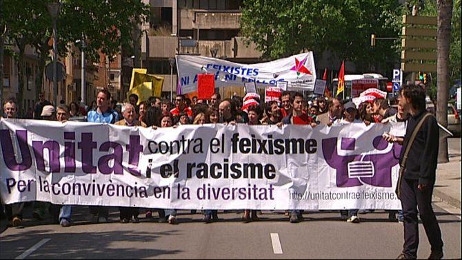 Capçalera de la manifestació d'Unitat contra el Feixisme i el Racisme a l'Hospitalet