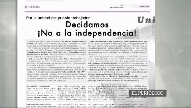Manifest d'esquerres en contra de la independència.