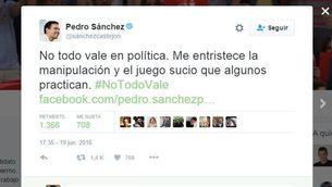 El tuit de Pedro Sánchez en què denuncia el vídeo