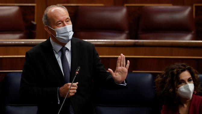 El ministre de Justícia, Juan Carlos Campo, durant la sessió de control d'aquest dimecres al Congrés