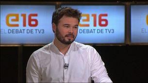 Rufián respon una pregunta de l'audiència del debat