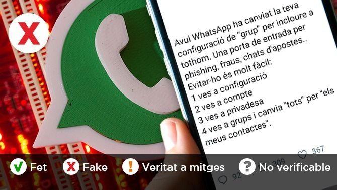 No, Whatsapp no ha canviat la configuració perquè qualsevol pugui afegir-te a un grup