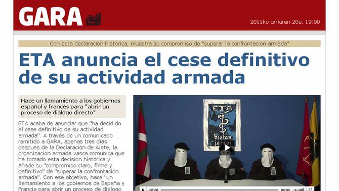 ETA anuncia que atura definitivament l'activitat armada