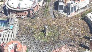 La manifestació del 15A, a vista d'helicòpter