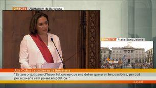 """Ada Colau, en el seu discurs de reelecció: """"Aquesta és una investidura difícil"""""""