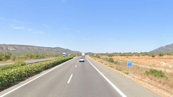 Punt quilomètric de l'AP-7 en què ha mort un motorista de Lleida (Google Maps)