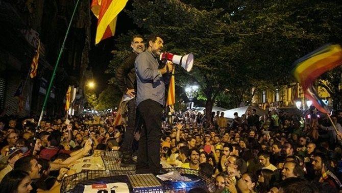 Els Jordis, durant la protesta del 20-S