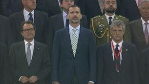 El rei Felip VI mentre sonava l'himne d'Espanya, eclipsat per la xiulada