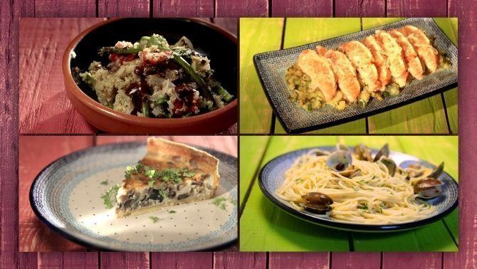 Amanida de quinoa, salmó, quiche de xampinyons i albergíni i espaguetti vongole