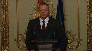 Ruiz-Gallardón, durant la roda de premsa en què ha anunciat la dimissió.