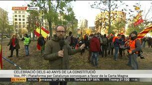 Concentració de la plataforma Borbonia a la plaça de l'U d'Octubre de Girona