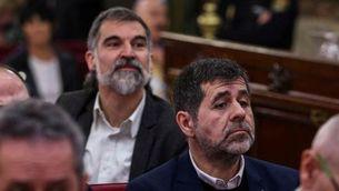 Jordi Cuixart i Jordi Sànchez durant el judici de l'1-O (ACN)