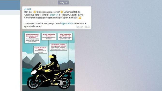 La Generalitat estrena un canal a Telegram per comunicar-se amb els ciutadans