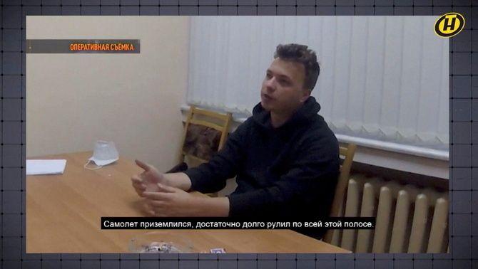 L'anterior aparició de Protassévitx a la televisió bielorussa, poques hores després de ser detingut