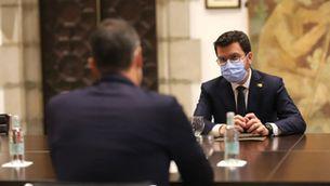 El president de la Generalitat, Pere Aragonès, reunit amb el cap de la Moncloa, Pedro Sánchez, durant la reunió de la taula de diàleg a Palau el 15 de setembre de 2021