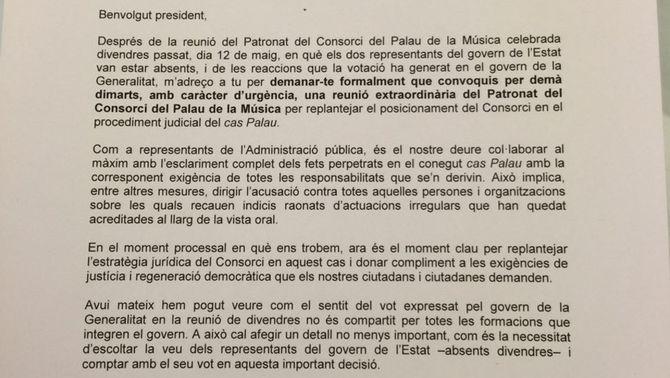 Ada Colau envia una carta a Carles Puigdemont