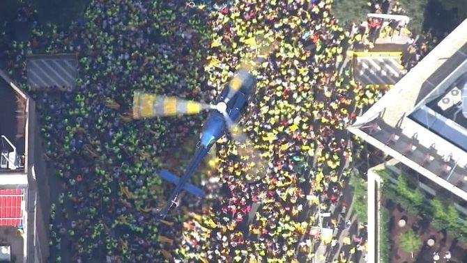 Un helicòpter sobrevola la manifestació de l'Onze de Setembre a Barcelona