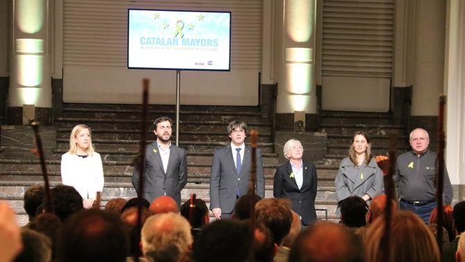 Carles Puigdemont, Toni Comín, Lluís Puig, Meritxell Serret i Clara Ponsatí