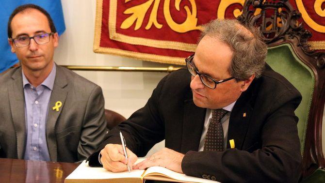 Quim Torra amb l'alcalde de Palamós, Lluís Puig (ACN)
