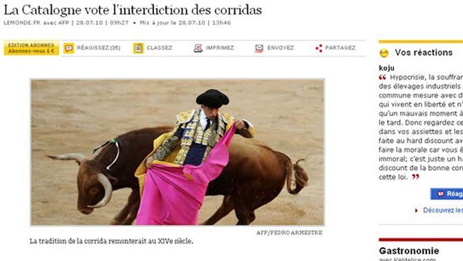 Mitjans de tot el món es fan ressò de la prohibició dels toros a Catalunya