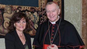 Calvo, reunida amb el secretari d'Estat del Vaticà, Pietro Parolin, aquest dilluns (EFE)