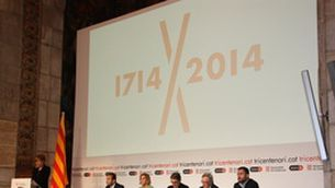 El saló de Sant Jordi ha acollit la presentació de la commemoració del tricentenari dels fets del 1714. (Foto: ACN)