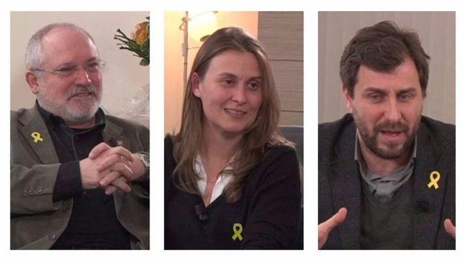 Lluís Puig, Meritxell Serret i Toni Comín, en l'entrevista d'El Punt Avui Televisió