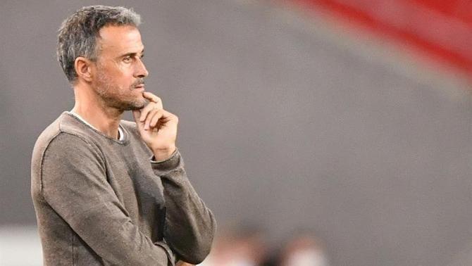 Luis Enrique, en un partit de la selecció espanyola