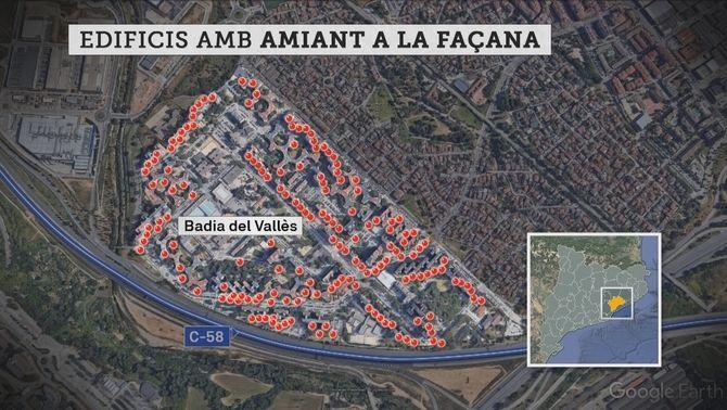 Mapa dels edificis amb amiant a la façana a Badia del Vallès.
