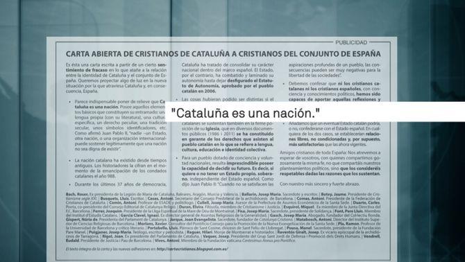 """Imatge de la carta oberta de cristians catalans publicada al diari """"ABC"""""""