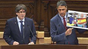 Xavier García Albiol i Carles Puigdemont s'enganxen en la qüestió de confiança