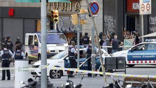 Policia a la Rambla el dia de l'atemptat