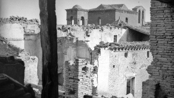 Monestir de Sixena després de l'incendi del 1936