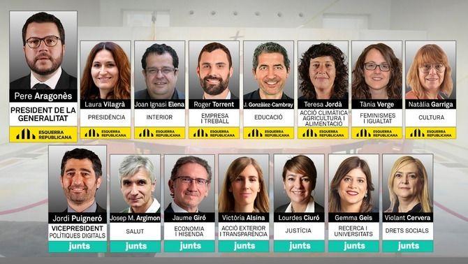 Els 14 consellers del govern Aragonès, vuit dones i sis homes