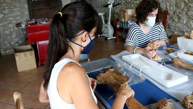 Dues arqueòlogues analitzen els ossos trobats a les coves de Moià