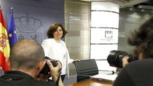 Pla obert de la vicepresidenta del govern espanyol en funcions, Soraya Sáenz de Santamaría, a la roda de premsa posterior al consell de ministres. (03/06/2016) (horitzontal)