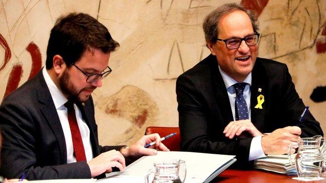 Aragonès i Torra en el consell de govern d'aquest dijous (ACN)