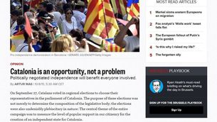 """L'article d'Artur Mas a """"Político"""" titulat """"Catalunya és una oportunitat, no un problema"""""""