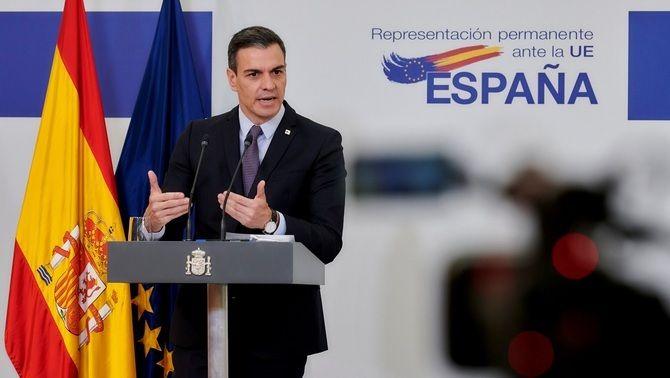 Sánchez, durant la roda de premsa posterior al Consell Europeu